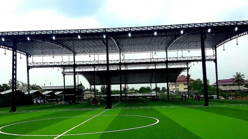 รับติดตั้งโครงสร้างเหล็กเซลลูล่าร์บีม-cellular beam สนามฟุตบอล Grandballondor พุทธมฑลสาย2